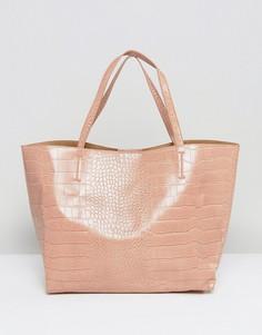 Бежевая сумка-тоут из искусственной крокодиловой кожи Glamorous - Бежевый