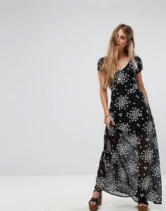 Платье макси с принтом звезд Liquorish - Черный
