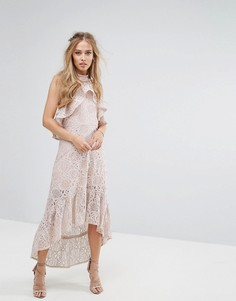 Кружевное асимметричное платье-халтер Foxiedox - Розовый