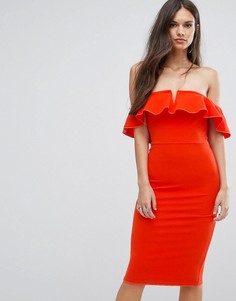 Платье миди с открытыми плечами и оборками Outrageous Fortune - Оранжевый