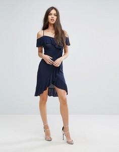 Платье миди с запахом и оборками Outrageous Fortune - Темно-синий