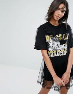 Свободное платье-футболка с сетчатым верхним слоем и принтом в университетском стиле STYLENANDA - Черный