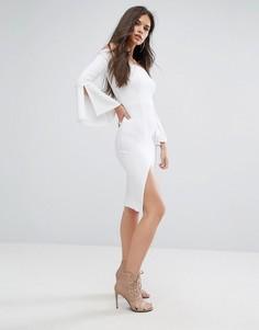 Платье-футляр миди с открытыми плечами и рукавами клеш Outrageous Fortune - Белый