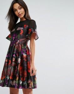 Платье миди для выпускного из плотного атласа с цветочным принтом Skeena S - Мульти