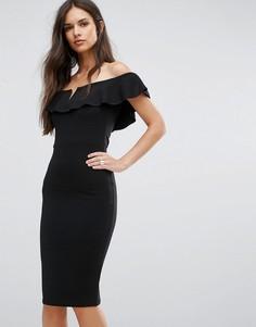 Платье миди с открытыми плечами и оборками Outrageous Fortune - Черный