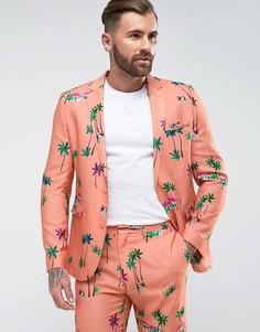 Облегающий пиджак кораллового цвета с тропическим принтом ASOS - Розовый