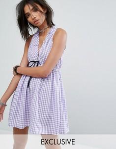 Платье мини в клетку с вырезами Milk It Vintage - Фиолетовый