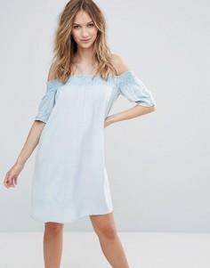 Платье с широким вырезом и присборенной отделкой Influence - Синий