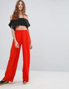 Брюки с широкими штанинами в горошек New Look - Красный