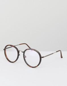 Коричневые черепаховые очки с прозрачными стеклами Jeepers Peepers - Коричневый
