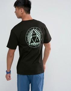Футболка с принтом тройного треугольника в клетку на спине HUF - Черный