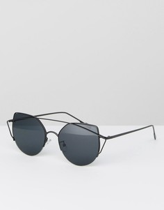 Круглые солнцезащитные очки с металлической оправой черного цвета Jeepers Peepers - Черный