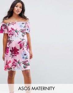 Розовое платье с открытыми плечами и цветочным принтом ASOS Maternity - Мульти