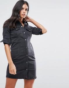 Джинсовое платье-рубашка Vila - Черный