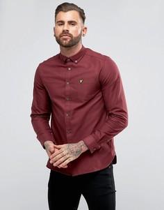 Бордовая оксфордская рубашка с длинными рукавами Lyle & Scott - Красный