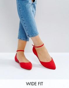 Красные туфли на плоской подошве для широкой стопы с ремешком вокруг щиколотки Faith - Красный