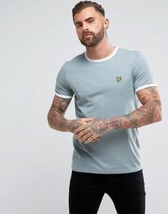 Голубая футболка с логотипом Lyle & Scott - Темно-синий