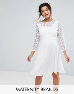 Платье миди с кружевным верхним слоем Queen Bee Maternity - Белый