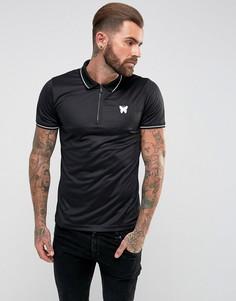 Черная футболка-поло с молнией Good For Nothing - Черный