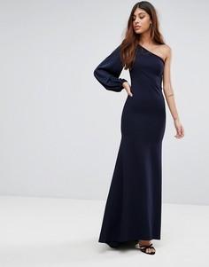 Платье макси с открытыми плечами и пышным рукавом на манжете TFNC - Темно-синий