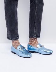 Лоферы металлик с Т-образными планками New Look - Синий