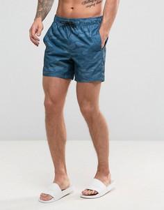 Синие камуфляжные шорты для плавания с логотипом Hollister - Синий