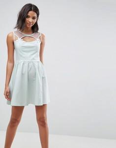Короткое приталенное платье Hell Bunny Maisy - Зеленый