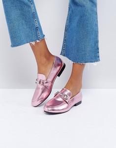 Лоферы металлик с Т-образными планками New Look - Розовый
