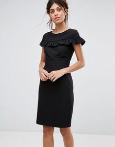 Платье миди с короткими рукавами и оборкой Closet - Черный