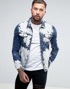 Выбеленная джинсовая куртка Liquor & Poker - Синий