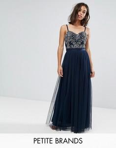 Платье макси с топом-корсетом, открытыми плечами и годе Maya Petite - Темно-синий
