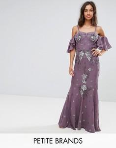 Платье макси с декоративной отделкой и рукавами клеш Maya Petite - Фиолетовый