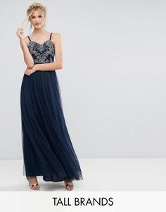 Платье макси с топом-корсетом и открытыми плечами Maya Tall - Темно-синий