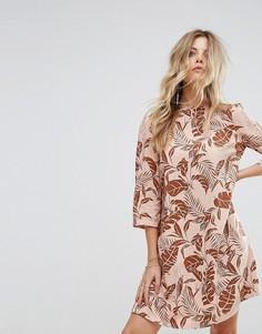 Платье с длинными рукавами и принтом пальм Y.A.S - Мульти