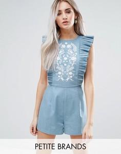 Ромпер с вышивкой и оборками Fashion Union Petite - Синий