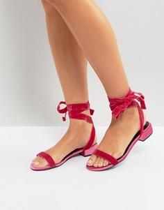 Сандалии из бархата со шнуровкой New Look - Розовый