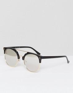 Солнцезащитные очки с металлической планкой Missguided - Серебряный