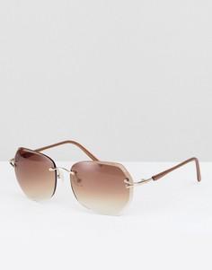 Круглые солнцезащитные очки в коричневой оправе Reclaimed Vintage - Черный