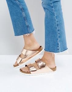 Кожаные сандалии медного цвета с отделкой металлик Birkenstock Arizona - Медный