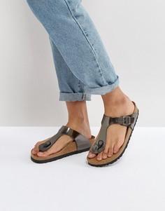 Темно-серые кожаные сандалии с эффектом металлик Birkenstock Gizeh - Серебряный