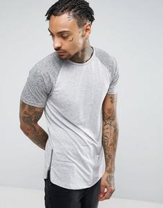 Длинная обтягивающая футболка из смеси льна с контрастными рукавами реглан и молниями по бокам ASOS - Серый