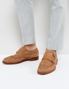Кожаные оксфорды с отделкой на носке ALDO - Коричневый