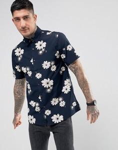 Темно-синяя повседневная рубашка с короткими рукавами и цветочным принтом Farah Tilbury - Темно-синий