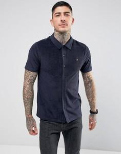 Темно-синяя рубашка из махрового трикотажа Farah - Темно-синий