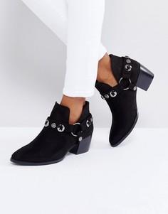 Ботинки в стиле вестерн на среднем каблуке Truffle Collection - Черный
