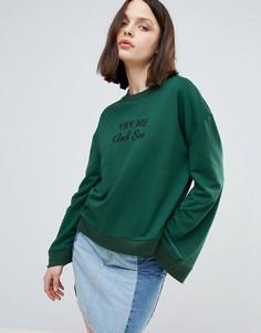 Свитшот с вышивкой Twiin - Зеленый Twin
