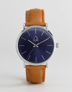 Часы со светло-коричневым кожаным ремешком и темно-синим циферблатом ASOS - Рыжий