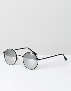Черные круглые солнцезащитные очки с зеркальными стеклами ASOS - Черный