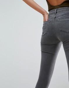 Серые джинсы скинни с завышенной талией ASOS RIDLEY - Серый