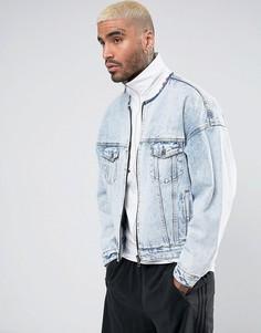 Светлая джинсовая оверсайз-куртка на молнии ASOS - Синий